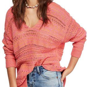 NWT Free People Oversized V-Neck Knit Sweater
